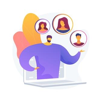 Illustration vectorielle de client persona concept abstrait. comprendre les besoins potentiels des clients, le public cible, la recherche utilisateur basée sur les données, le positionnement de la marque, collecter une métaphore abstraite des commentaires.