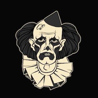 Illustration vectorielle de clown triste halloween