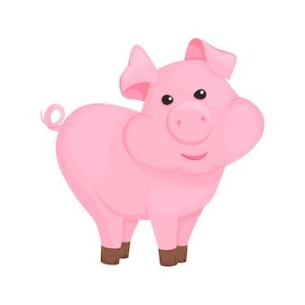 Illustration vectorielle de cochon dessin animé cochon rose caractère animal. drôle de bébé mammifère domestique petit porcelet animal de compagnie. symbole de l'année 2019 du zodiaque. petits porcs de ferme.