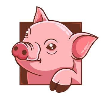 Illustration vectorielle de cochon tête de dessin animé dessinés à la main