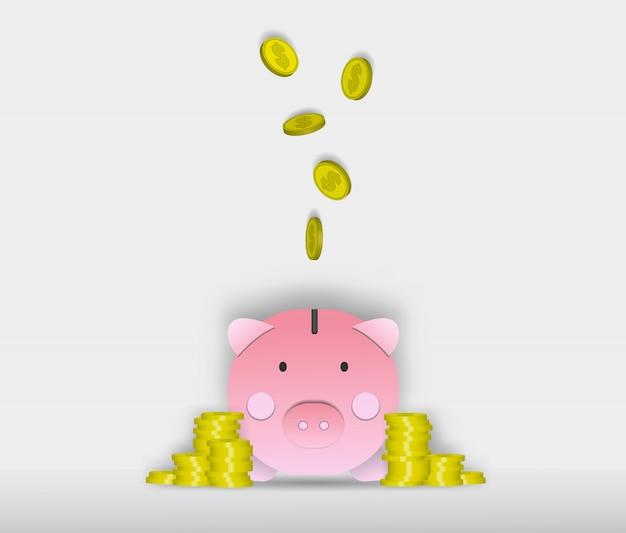 Illustration vectorielle de cochon tirelire papier art