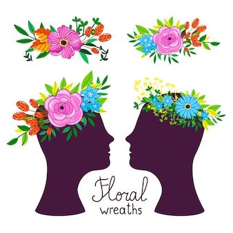 Illustration vectorielle coiffure florale