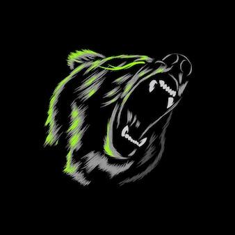 Illustration vectorielle en colère grizzly avec résumé de brosse