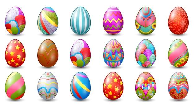 Illustration vectorielle de la collection de décoration d'oeufs de pâques