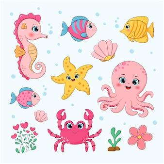 Illustration vectorielle de collection océan mignon