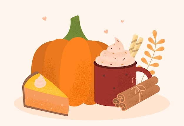 Illustration vectorielle coloré moderne automne doux