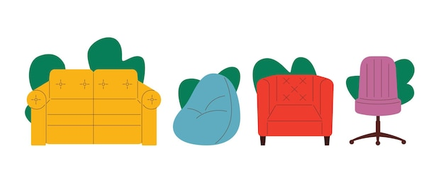 Illustration vectorielle colorée dans un style plat ensemble de meubles isolé sur fond blanc sièges collection de meubles canapé fauteuil chaise d'ordinateur
