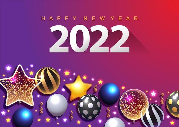 Illustration vectorielle colorée du nouvel an 2022 lumineux sur un texte de fond bleu foncé happy new year