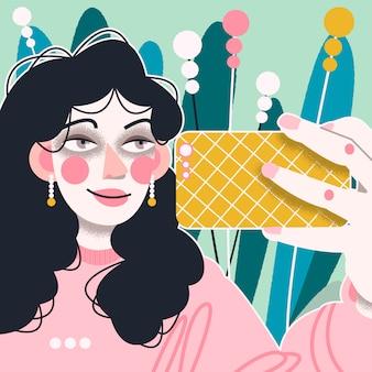 Illustration vectorielle colorée d'une fille qui prend un selfie
