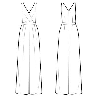 Illustration vectorielle de combinaison femme avant et arrière