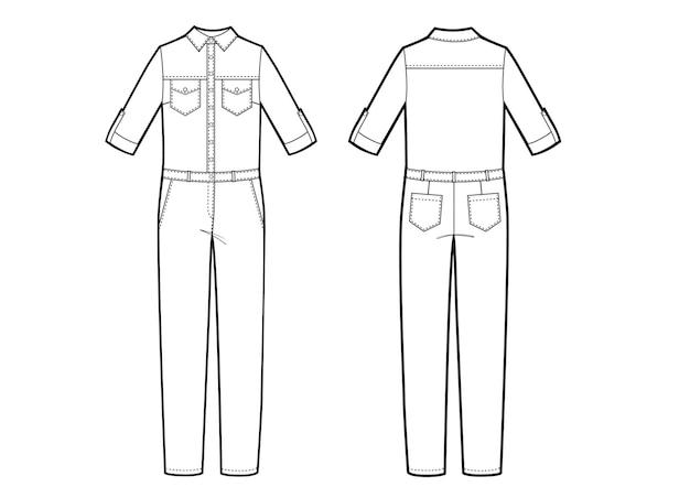Illustration vectorielle de combinaison femme. avant et arrière