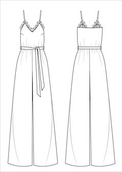Illustration vectorielle de combinaison femme avec dentelle. avant et arrière