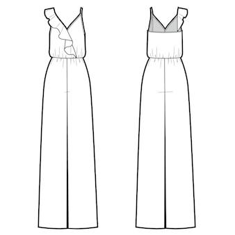 Illustration vectorielle de combinaison femme avec volants devant et dos