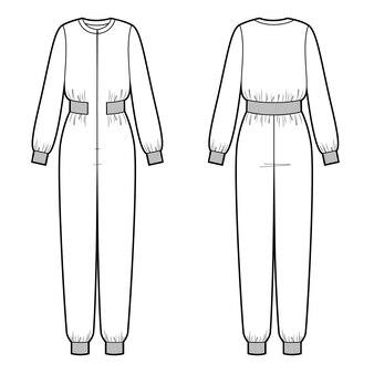 Illustration vectorielle de combinaison maxi femme à col rond. vue avant et arrière
