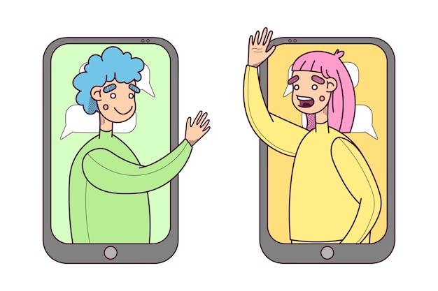 Illustration vectorielle communiquer à partir d'un smartphone. les gens sortent de l'écran mobile, de la communication en ligne, de l'appel vidéo, du chat en ligne.