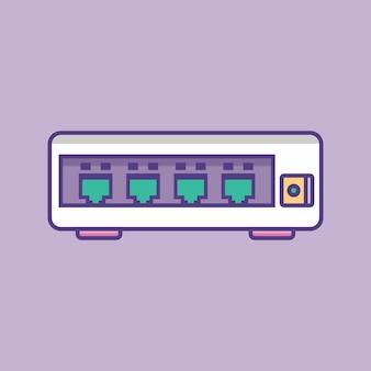 Illustration vectorielle de commutateur ethernet icône de routeur réseau de commutateur réseau