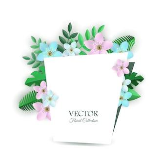 Illustration vectorielle de composition florale avec des fleurs légères et des feuilles vertes à l'intérieur du félicitation gard.