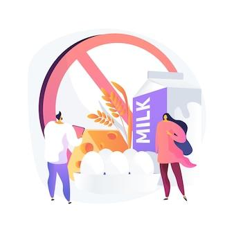 Illustration vectorielle de concept abstrait d'allergie alimentaire. intolérance aux ingrédients alimentaires, traitement des allergies, identification des allergènes, facteur de risque, problème d'éruption cutanée, métaphore abstraite du régime sans gluten.