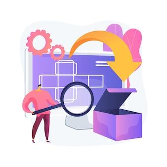 Illustration vectorielle de concept abstrait d'emballage numérique. technologie numérique, logiciel 3d, étiquettes ar, outil de marketing, attirer le client, réalité augmentée, personnaliser la métaphore abstraite de la commande.