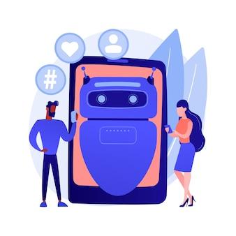 Illustration vectorielle de concept abstrait d'influenceur virtuel. marketing d'influence, service d'agence numérique, personnage virtuel, personne générée par ordinateur, médias sociaux, métaphore abstraite d'avatar de marque.
