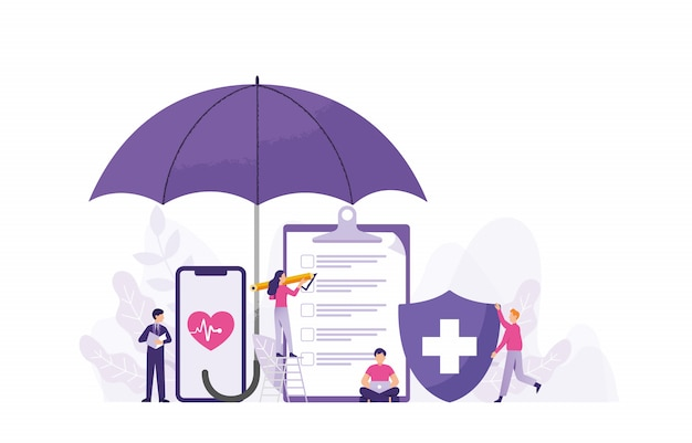 Illustration vectorielle de concept d'assurance-maladie médicale