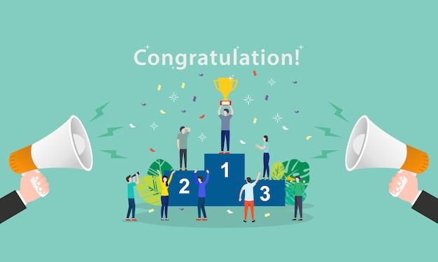 Illustration vectorielle concept du mot félicitations