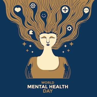 Illustration vectorielle concept de la journée mondiale de la santé mentale.