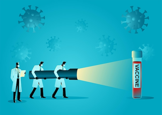 Illustration vectorielle de concept médical de l'équipe de chercheurs médicaux tenant une lampe de poche géante à la recherche d'un vaccin