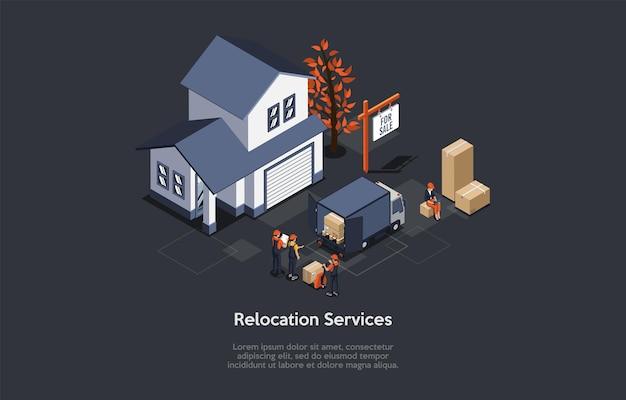 Illustration vectorielle, concept de services de réinstallation. composition 3d isométrique, style dessin animé. appartement de banlieue, quatre personnages. équipe dans un camion de chargement uniforme avec des boîtes en carton. fond sombre