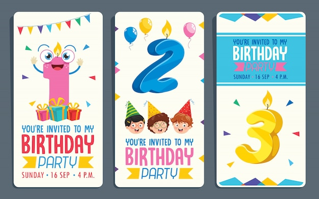 Illustration vectorielle de conception de cartes d'invitation de fête d'anniversaire enfants