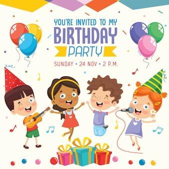 Illustration vectorielle de conception de cartes d'invitation de fête d'anniversaire enfants