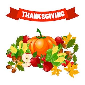 Illustration vectorielle d'une conception de célébration de joyeux thanksgiving.