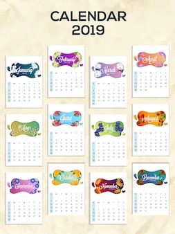 Illustration vectorielle de la conception du calendrier annuel 2019