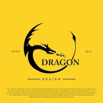 Illustration vectorielle de conception de logo cercle dragon créatif