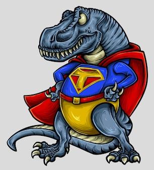 Illustration vectorielle de conception de personnage dinosaure t-rex