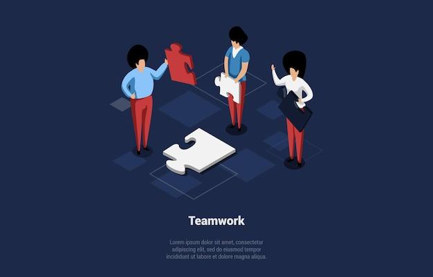 Illustration vectorielle conceptuelle avec du texte et des caractères. composition isométrique dans le style 3d de dessin animé. travail d'équipe, groupe d'hommes d'affaires faisant des puzzles ensemble, idées de convivialité, esprit professionnel.