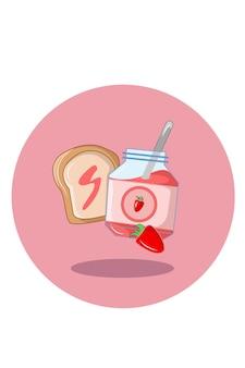 Illustration vectorielle de confiture de pain aux fraises