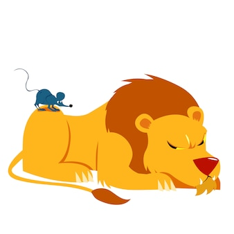 Illustration vectorielle de conte de lion et de souris