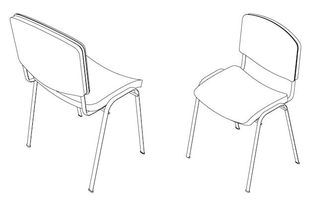 Illustration vectorielle contour de chaise visiteur de bureau, vue isométrique