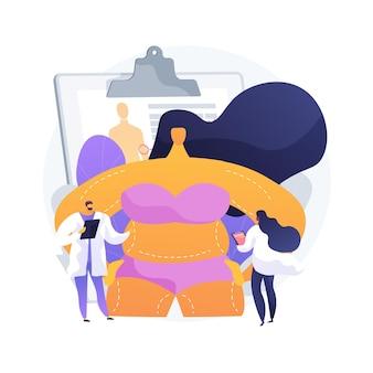 Illustration vectorielle de contour du corps concept abstrait. correction du corps en plastique non chirurgical, technologie de contouring, réduction, service de traitement esthétique, métaphore abstraite de procédure non invasive.