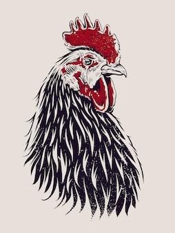 Illustration vectorielle de coq. coq de style de gravure.