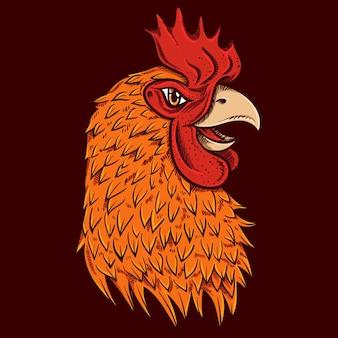 Illustration vectorielle de coq poulet dessin à la main