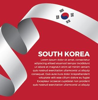 Illustration vectorielle de corée du sud ruban drapeau sur fond blanc vecteur premium