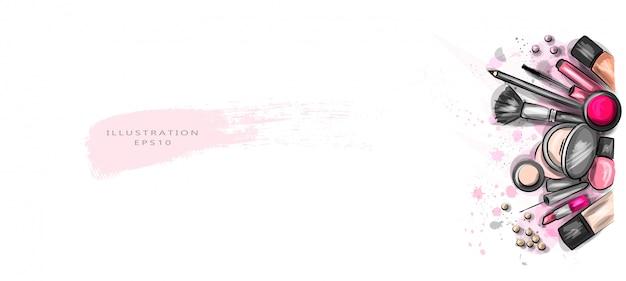 Illustration vectorielle. les cosmétiques décoratifs sont dispersés de manière chaotique.