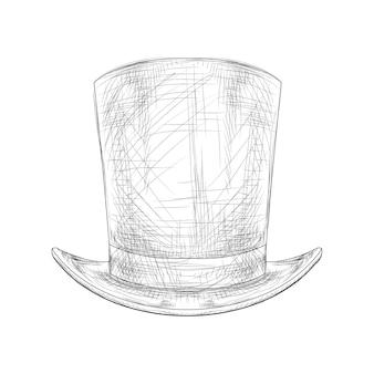 Illustration vectorielle de couleur noir et blanc dessinés à la main chapeau haut de forme