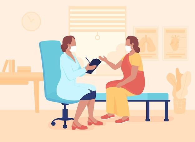 Illustration vectorielle de couleur plate de rendez-vous de médecin