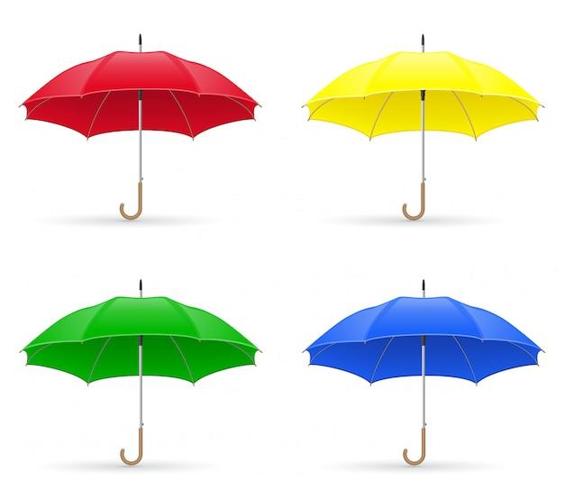 Illustration vectorielle de couleurs parapluies