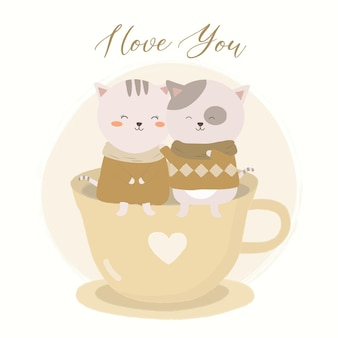 Illustration vectorielle de couple de chats, tasse de thé et citation de lettrage