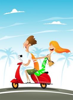 Illustration vectorielle d'un couple italien sur un scooter