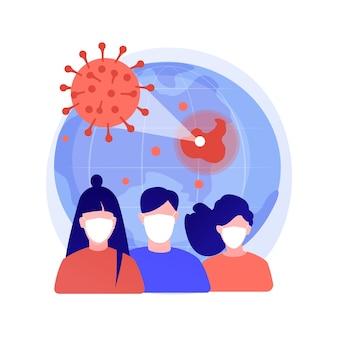 Illustration vectorielle de covid-19 concept abstrait. coronavirus dans le monde, pandémie, victimes du covid-19, épidémie d'infection, statistiques, nombre de morts, état d'urgence, métaphore abstraite de mesure de quarantaine.